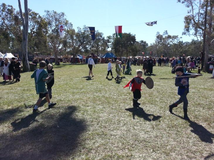 kids sword fighting, medievil fair 2015